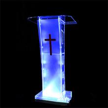 Pódio de acrílico moderno com suporte de luz LED