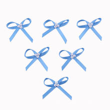 Blue Satin Ribbon Bow with Pearl