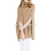 15JW0224 Frauen Großhandel Rollkragen Poncho Stil Pullover
