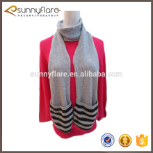 fashion winter infinity pure mongolia cashmere scarf with pockets