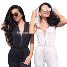 Frauen Reißverschluss V-Ausschnitt Clubwear Playsuit Bodycon Partyoverall mit Kapuze