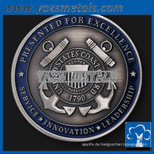 fertigen Sie Metallmünzen, kundenspezifische hohe Qualität Ufer-Nickel-Kommandantenmünze mit Antike und Emaille-Finish an