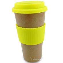 550ml Rice Husk Fiber Coffee Mug with Silicone Cover