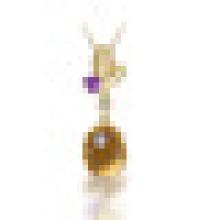 2.80 карат овальный натуральный желтый цитрин Аметист листья Кулон ожерелье s925 стерлингового серебра для женщин ювелирные изделия камень