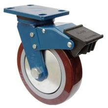 Swivel PU Caster with Dual Brake (Red)
