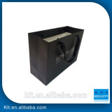 black paper gift ribbon bag with white logo printing