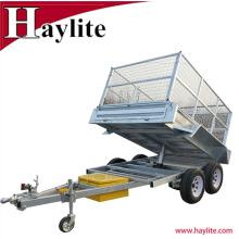 Remorque tandem entièrement galvanisée à benne basculante avec cage