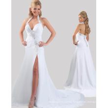 Alibaba Vestidos baratos en línea Halter abierto Negro Chiffon blanco con diamantes de imitación para la fiesta RO11-23