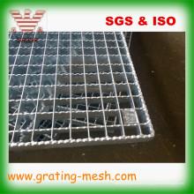 Grade de barra de aço galvanizada com inserção serrilhada para passarela