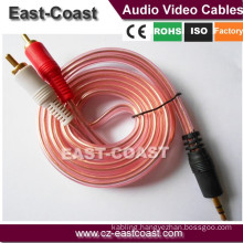 Preminum Gold Pin Transparent Copper rca cable Spiral Shielded auido cable