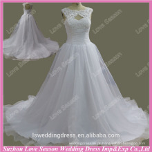 RP0045 Real vestido scoop decote renda cristais diamantes espartilho vestido de casamento com organza vestido de noiva vestido de renda vestido 2015
