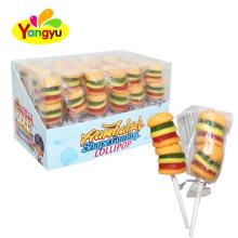 Halal Double Hamburger Soft Gummy Lollipop Supplier