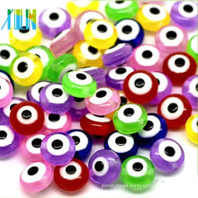 handmade colorful flat round evil eye glass beads