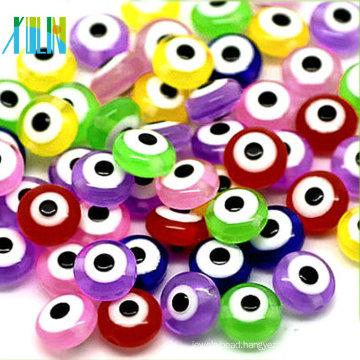 handmade colorful flat round evil eye glass beads