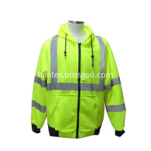 Cheap safety green knitted wear hi vis sweater safety reflective jacket