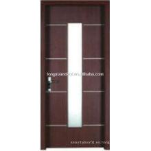 WPC puerta de baño de PVC con diseño de vidrio vertical, puerta del inodoro impermeable