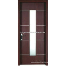 WPC porta sanita de PVC com design de vidro vertical, porta de banheiro impermeável