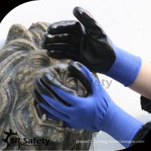 SRSAFETY текстура цветной U3 трикотажная синяя нейлоновая нитриловая перчатка