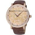 Reloj de diamantes de lujo para mujer con correa de cuero