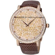 Mulheres de luxo relógio de diamantes com pulseira de couro