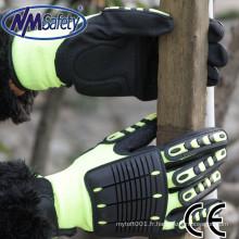 NMSAFETY anti-chocs sur le dos et les doigts et la paume utilisent des gants de sécurité en nitrile sableux