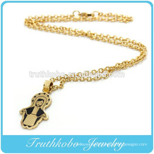 Vacuum Plating Gold Catholic Religious Stainless Steel Necklace with Black Enamel Virgin Mary Pendant
