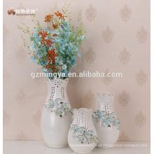 Decorativo flor de flor de piso, decoração de casa grande decoração de flor azul vaso de cerâmica cerâmica decoração de casa