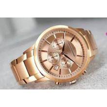 Classique or chronographe bande d'or rose Business Nouveau Riche de luxe mode trois yeux chronographe quartz montre d'hommes