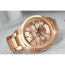 Classic Gold Chronograph Rose Gold Strip Business Nouveau Riche Luxury Fashion Three Eye Chronograph Quartz Men′s Watch