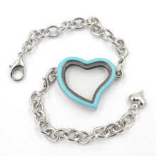 Fashion Jewellery Heart Shaped Alloy Glass Locket Bracelet