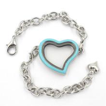 Jóias de moda Coração em forma de liga de vidro Locket pulseira
