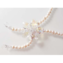 Handmade Long Fresh Pearl Flower Necklace Pearl Sweater Necklace