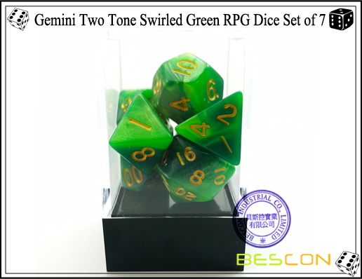 Gemini Two Tone Swirled Green RPG Dice Set of 7-3