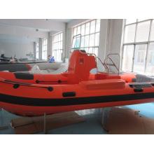 Barco inflável de resgate reforçado com fibra de vidro laranja 5,2 m
