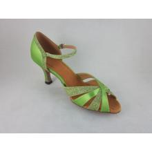 Zielone satynowe damskie buty satynowe