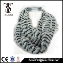 2015 new hot sell woman stripe plush infinity scarf                                                                         Quality Choice