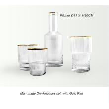Conjunto de utensílios para beber feitos à mão com aro dourado