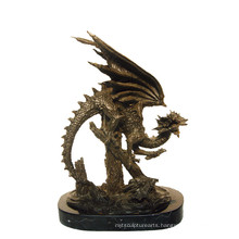 Animal Bronze Sculpture Dragon Carving Decor Brass Statue Tpy-648