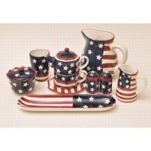 Conjunto de cerámica de la bandera de la pintura de la mano