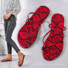Hot Sale Buckle Beach Clear Flat Snake Print Sandal Slides Women Colorful Slides Sandals