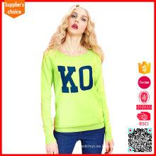Nuevos suéteres largos de las mujeres del resorte del telar jacquar del suéter del crewneck de la manga del diseño
