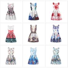 Preço barato por atacado verão fada menina sem mangas princesa crianças escola desgaste ocasional vestido da menina de flor
