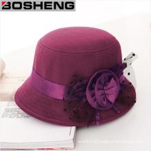 Estilo vintage moda bowknot lã cloche balde inverno moldado chapéu