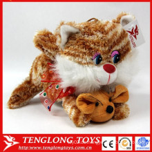Hochwertiger süßester Großhandel schöne weiche Plüsch Spielzeug Katze mit Maus Plüschtiere Fabrik gemacht