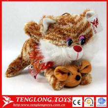 Высокое качество cutest оптовой прекрасный мягкий плюшевый игрушки кот с мыши плюшевые игрушки завод сделал