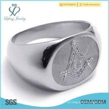 Black Onyx Maçônico Intaglio Sterling Silver Ring