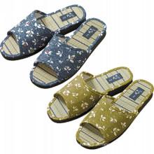 Alta qualidade Open toe palha sola homens indoor sapato casa sapatos