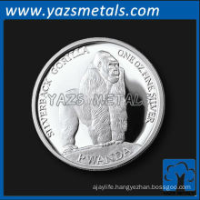 customize metal coins, custom high quality Rwanda silverback gorilla coin