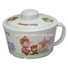 Vaisselle de mélamine de 100% - bol de nouilles de vaisselle de Kid avec le bol de couverture / nouilles (pH635S)
