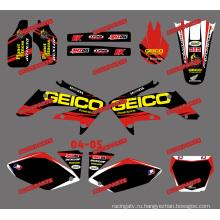 Мини-велосипедов наклейки/грязи велосипед пропуск/мотоцикл/Мотокросс графика комплект для Honda Crf250r Crf250 мотоциклов 2004 2005 (DST0012)